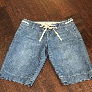 Denim Bermuda draw string shorts
